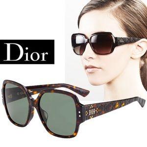 "Dior Sunglasses ""Lady Dior"" Studs Square Brown"